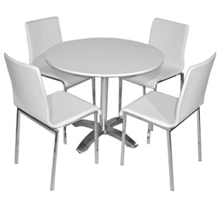 Round Cafe Table With White Chairs